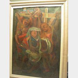 Framed Oil Descent From the Cross