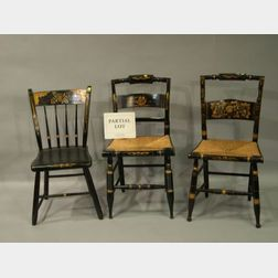 Four Hitchcock-type Painted and Stencil Decorated Side Chairs,   a Painted and Stencil Decorated Slat-back and a Rod-back Side Chair