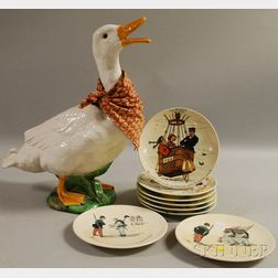 Set of Six French Les Sports Series Ceramic Plaques, a Pair of Sarreguemines Mon Regiment Series Ceramic Plaques, and a French Glaze...