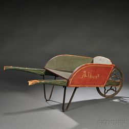 Paint-decorated Child's Wooden Wheelbarrow