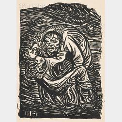 Two Framed Works:       Ernst Barlach (German, 1870-1938), Barmherzinger Samariter   (The Good Samaritan)