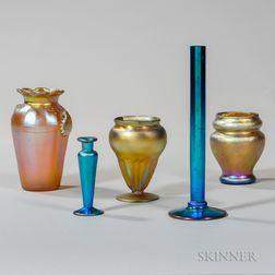 Five Iridescent Art Glass Items