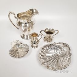 Five Pieces of Sterling Silver and Silver-plated Hollowware