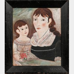 American School, 19th Century      Portrait of a Mother and Daughter