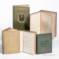 Books Signed by their Authors, Translators, or Publishers, American Writers, Late 19th to Early 20th Century, Five Titles.