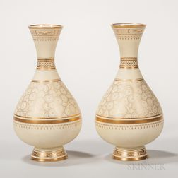 Pair of Minton Porcelain Bottle-shaped Vases