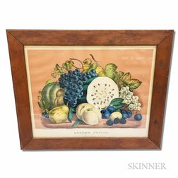 Framed Currier & Ives Hand-colored Lithograph Autumn Fruits