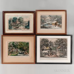 "Four Currier & Ives ""Home"" Lithographs"