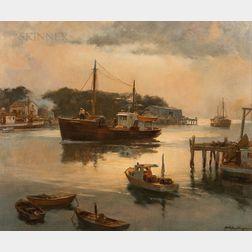 Harry Russell Ballinger (American, 1892-1993)      Trawler Making Port