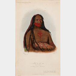 Hand-colored Catlin Lithograph of an Indian Chief