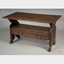 Gothic Revival Painted Oak Table/Hall Bench