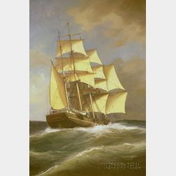 Framed Oil on Canvas Portrait of an American School Clipper Ship