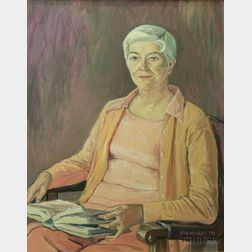 Framed Oil on Canvas, Portrait of Annabelle M. Melville [Professor at Bridgewater State College], by John Paul Manship (American,...