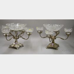 Pair of Silver Plated and Crystal Epergne Table Centerpieces
