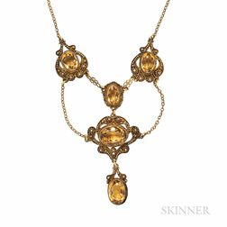 Antique Gilt and Citrine Necklace