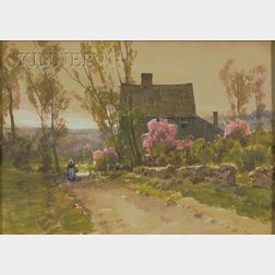 Attributed to Hezekiah Anthony Dyer  (American, 1872-1943)      View with a Woman on a Path by a Country House
