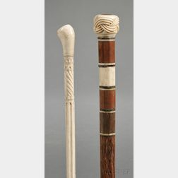 Two Carved Walking Sticks