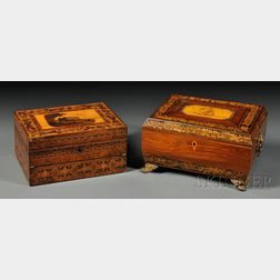 Two Regency Wood Sewing Boxes