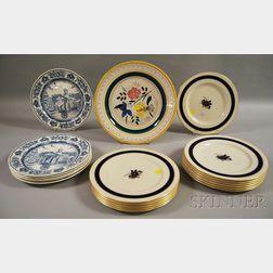 Set of Six Wedgwood Blue Transfer Yale Ceramic Dinner Plates and a Set of Twelve Lenox Gilt and Cobalt Floral-decorated Porcelain Dinne