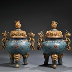 Pair of Cloisonne Censers