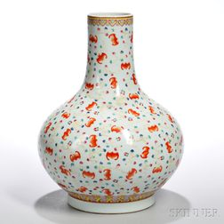 "Famille Rose ""Hundred Bats"" Vase"