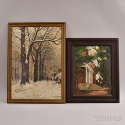Two Works:      Lauritz Sorensen (Danish, 1882-1968), A Wintry Walk
