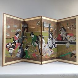 Japanese Painted Four-panel Floor Screen
