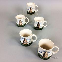 "Five Moorcroft Pottery Ceramic ""1986"" Cups"