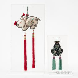 Embroidered Tobacco Pouch and Rabbit Tassel
