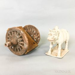 Primitive Pottery Ox and Cart
