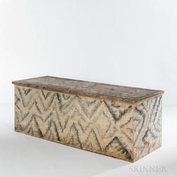 Large White and Blue/gray-painted Six-board Chest