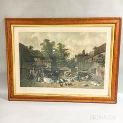 Framed Brooks A Straw Yard   and A Kentish Farm Yard   Hand-colored Lithographs