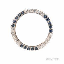Sapphire and Diamond Circle Pin