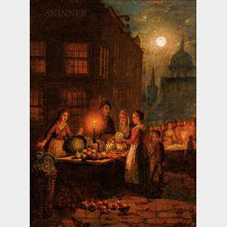 Attributed to Johann Mongels Culverhouse (Dutch, 1820-1891)      Moonlit Market