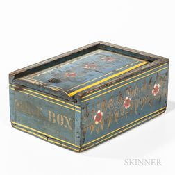 Blue-painted and Paint-decorated Slide-lid Box