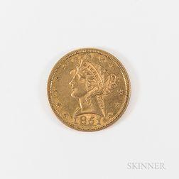 1851 $5 Liberty Head Gold Half Eagle