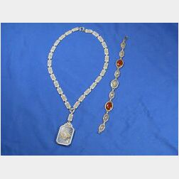 Two Art Deco 14kt White Gold, Crystal and Diamond Jewelry Items
