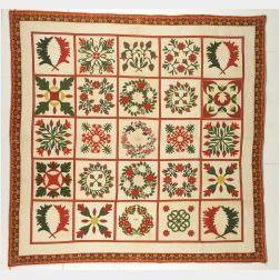 Pieced and Appliqued Cotton Album Quilt