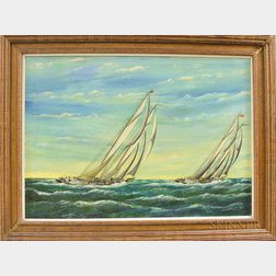 """Pierre Armand Pothier (American, b. 1873)      """"Henry S. Ford"""" and """"Bluenose"""" Sailing Up Wind"""