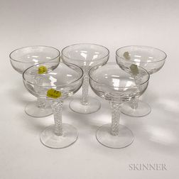 Set of Five Stuart Colorless Glass Champagne Coupes