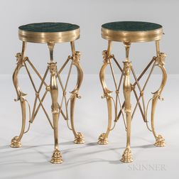 Pair of Neoclassical-style Dore Bronze-mounted Marble-top Tables