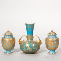 Three Derby Porcelain Powder Blue Vases