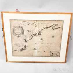 Framed Johannes Janssonius Engraved Map of New England and Virginia