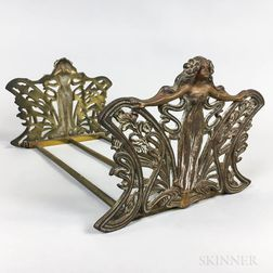 Art Nouveau Figural Brass Extending Book Rack