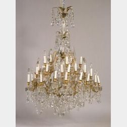 Large Thirty-five Light Three-Tier Crystal Chandelier