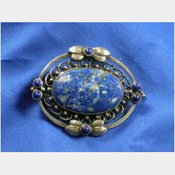 Sterling Silver and Lapis Lazuli Brooch