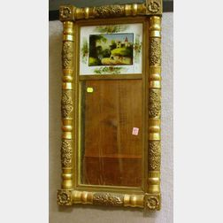 Empire Giltwood Split Baluster Mirror with Reverse-Painted Glass Tablet