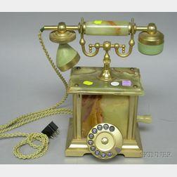 Green Onyx Rotary Dial Telephone.