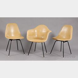 Eames Armchair and Two Side Chairs