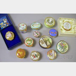 Thirteen Collectible Enameled Trinket Boxes